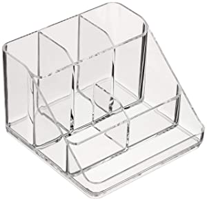 AmazonBasics Acrylic 6-Compartment Tall Durable Makeup Jewelry Accessories Storage Organizer Tray