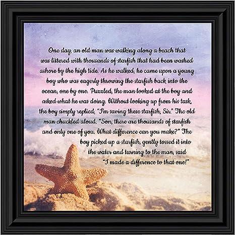 "Starfish Framed 5/"" x 7/"" Nautical Ocean Sea Inspirational Starfish Poem"