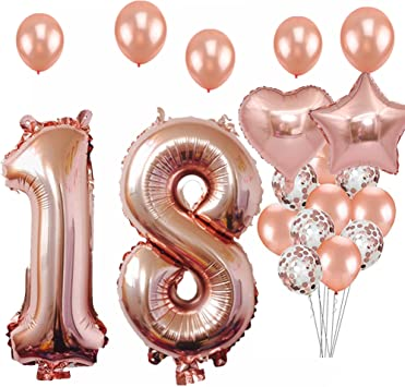 Amazon.com: Adornos para fiestas de 18 cumpleaños, globos de ...