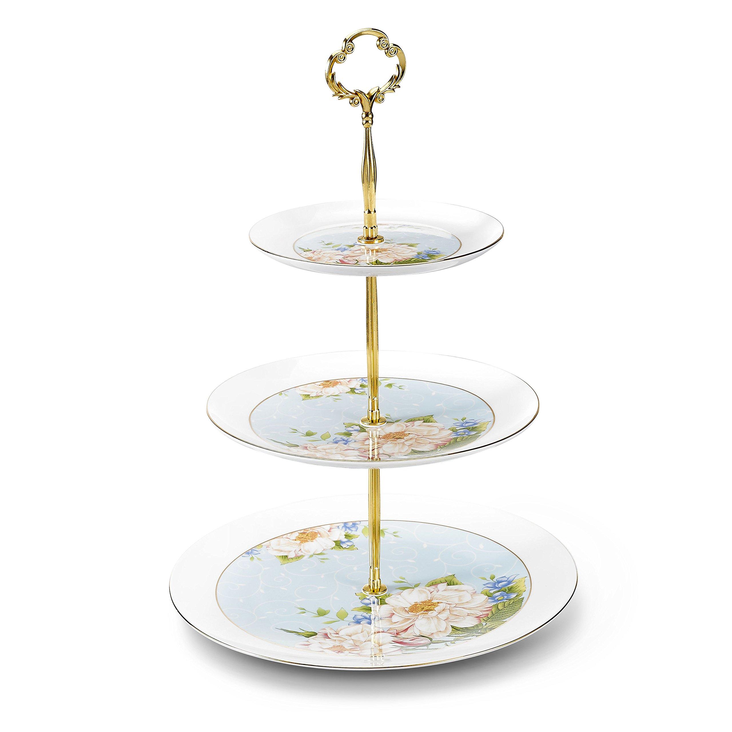 Panbado 3 Tier Cake Stand Tower, Bone China 6'' /8''/10'' Party Food Server Display Set - Light Blue Flower