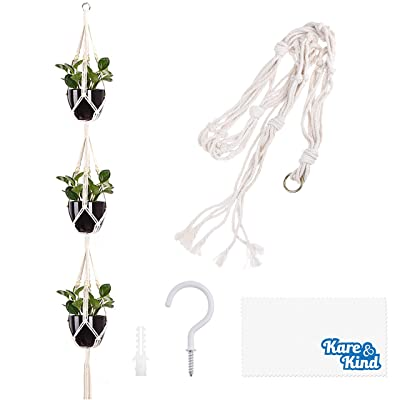 Kare & Kind 3-Tier Macrame Plant Hanger - Includes a Hook, Expansion Bolt, Cleaning Cloth - 3 Pot Display - Cotton Rope Material- for Flower Pots and Hanging Plants - Indoor and Outdoor Use : Garden & Outdoor