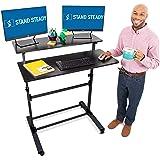 Stand Steady Tranzendesk Two Level Mobile Workstation | Height Adjustable Standing Desk w/Locking Wheels | Multipurpose…