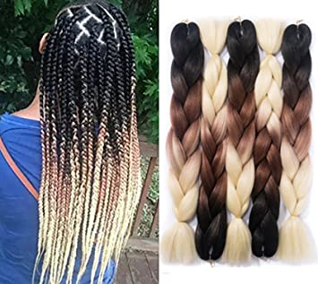 Amazon Com Yrenrea Hair 24inch Ombre Kanekalon Hair Jumbo Crochet Braids Hair 5pcs Lot Synthetic Hair Extensions Two Tone Braiding Hair Kanekalon Fiber For Twist Braiding Crochet Hair Beauty