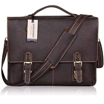 eef298f70fed Jack Chris New Arrival Men s Leather Briefcase Twin Buckle Shoulder 14 Inch  Laptop Bag Messenger Bag