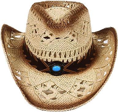 e9c31e10 Women/Men's Summer Classic Western Cowboy Straw Hat (Beige) at Amazon Men's  Clothing store: