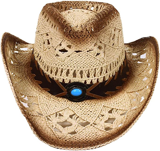 AshopZ 2-Tone Cattleman Straw Western Cowboy Cowgirl Hat with Beaded Band b9fcf36f6108