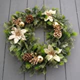 16 inch Artificial Gold Poinsettia / Holly Christmas Wreath for indoors and outdoors by A1-Homes