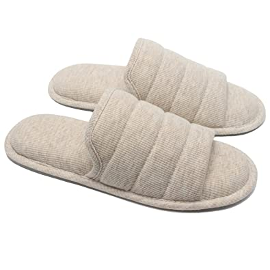 7ac140ce85b Ofoot Men s Cozy Thread Cloth Open Toe House Slippers