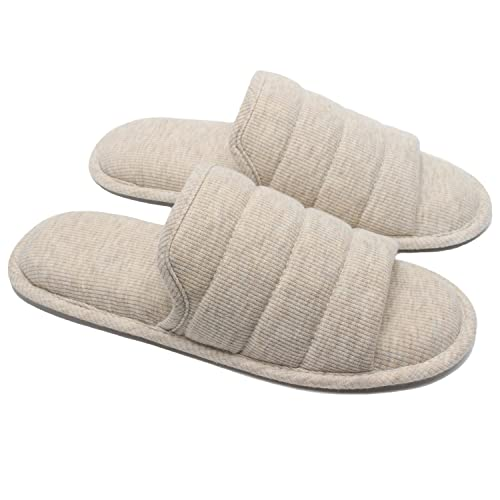 25ad753a6149a Ofoot Women's Knitted Breathable Cotton Slip on Slippers Open Toe, Soft  Cozy Memory Foam Indoor