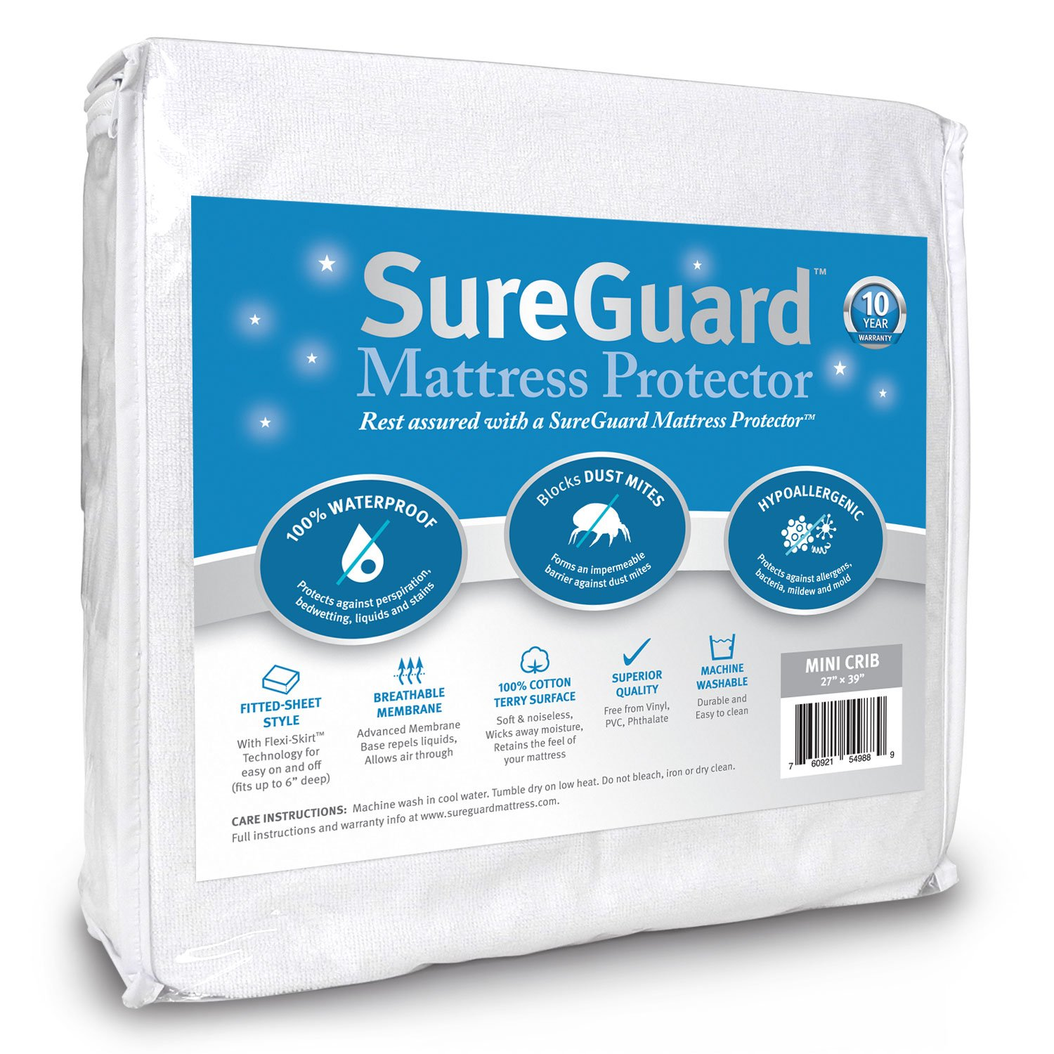 Mini Crib SureGuard Mattress Protector - 100% Waterproof, Hypoallergenic - Premium Fitted Cotton Terry Cover for Portable Pack n Play - 10 Year Warranty by SureGuard Mattress Protectors