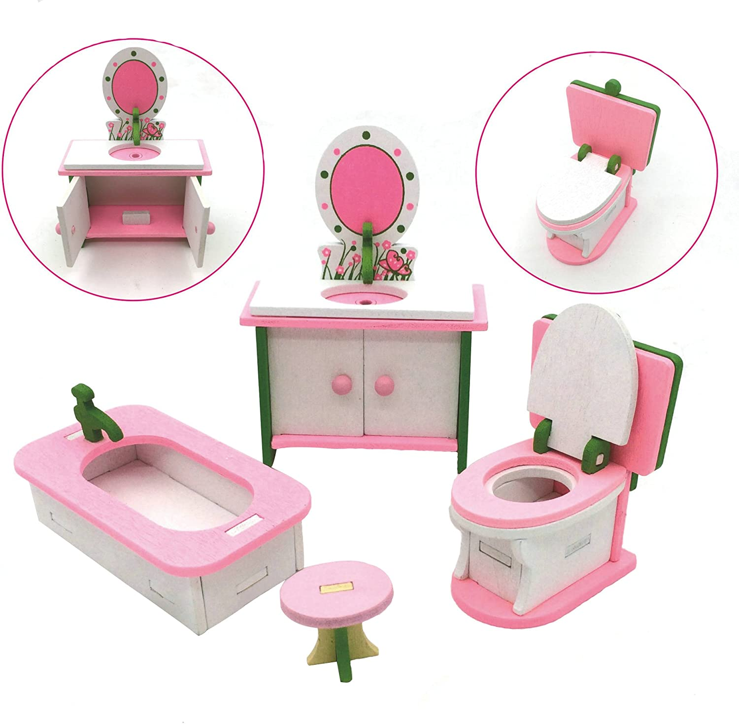 X Hot Popcorn Wooden Colorful Dolls House Furniture Toys Set Miniature Models DIY Assembled Toys (Bathroom Room)