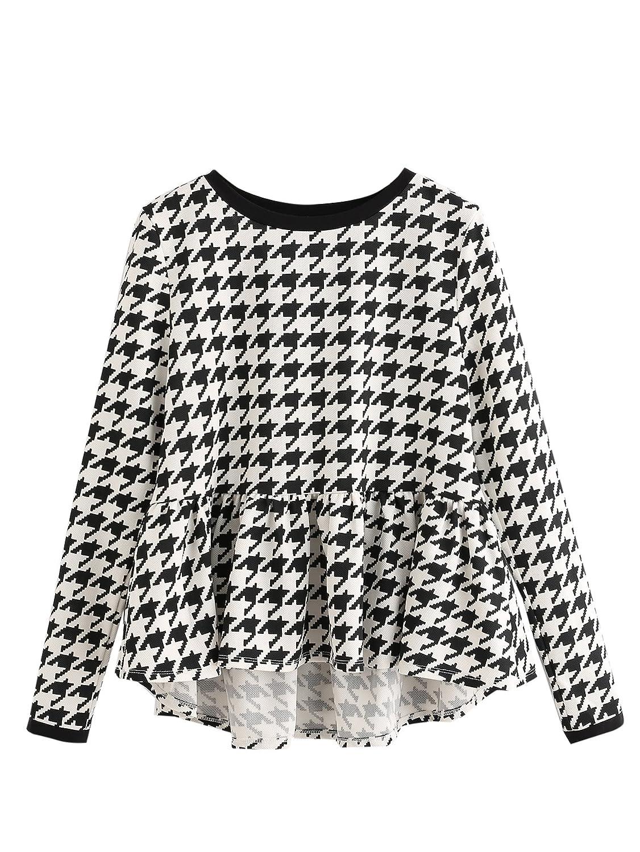 Black&white SheIn Women's Loose Round Neck Raglan Long Sleeve Ruffle High Low Hem Smock Top