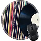 MSD Natural Rubber Mousepad Round Mouse Pad/Mat: 35086486 Vinyl record with copy space in front of a collection of albums dummy titles vintage process