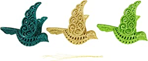 Clever Creations Dove Christmas Ornament Set of 3 Pieces, Shatterproof Holiday Décor for Christmas Trees, Teal, Green and Gold