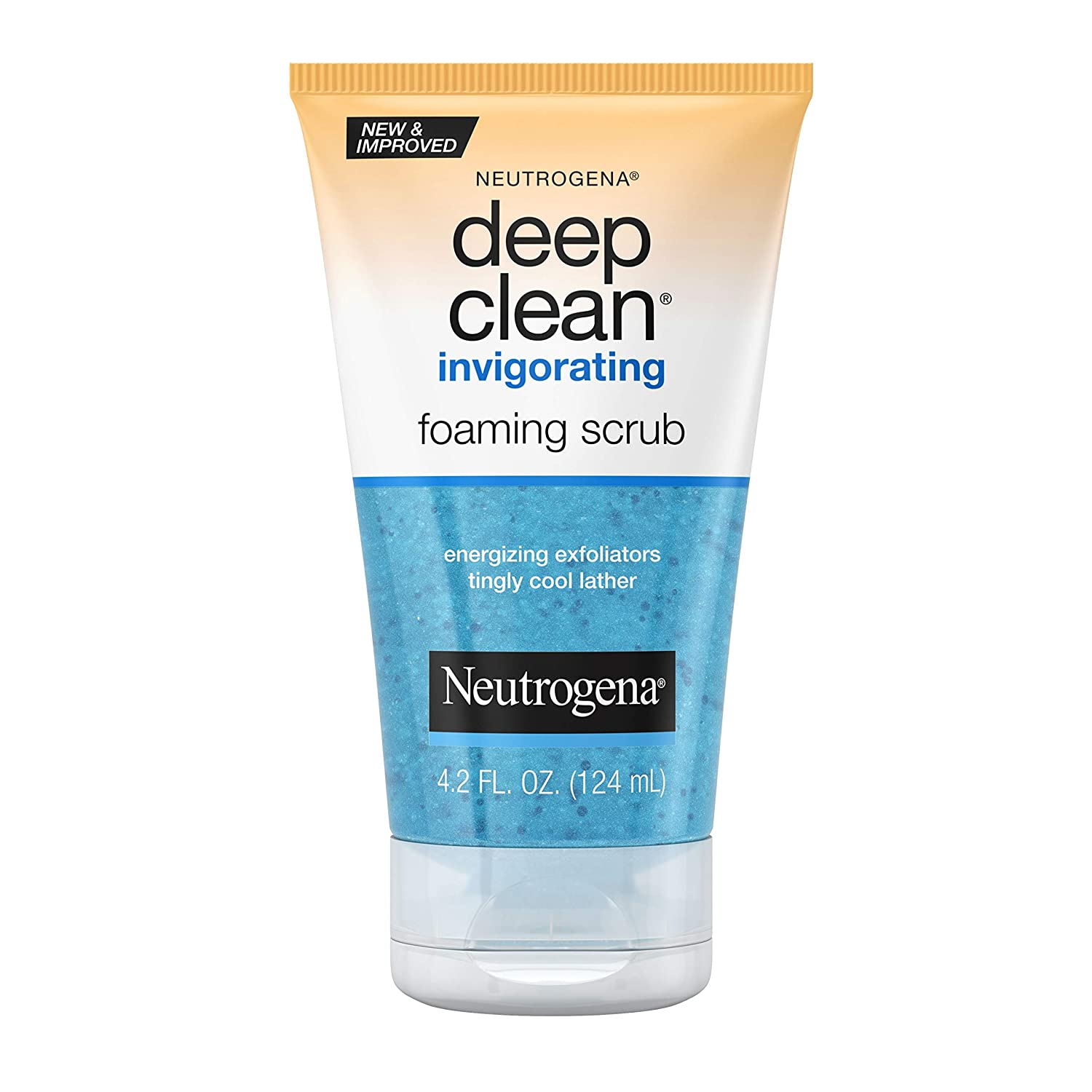 Neutrogena Deep Clean Invigorating Foaming Facial Scrub with Glycerin, Cooling & Exfoliating Gel Face Wash to Remove Dirt, Oil & Makeup, 4.2 fl. oz: Beauty