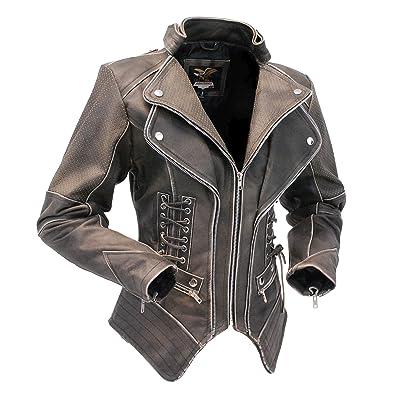 db2805473cd65f Jamin  Leather Women s Brown Vintage Steampunk Leather Jacket ccw   LA15070XZZN
