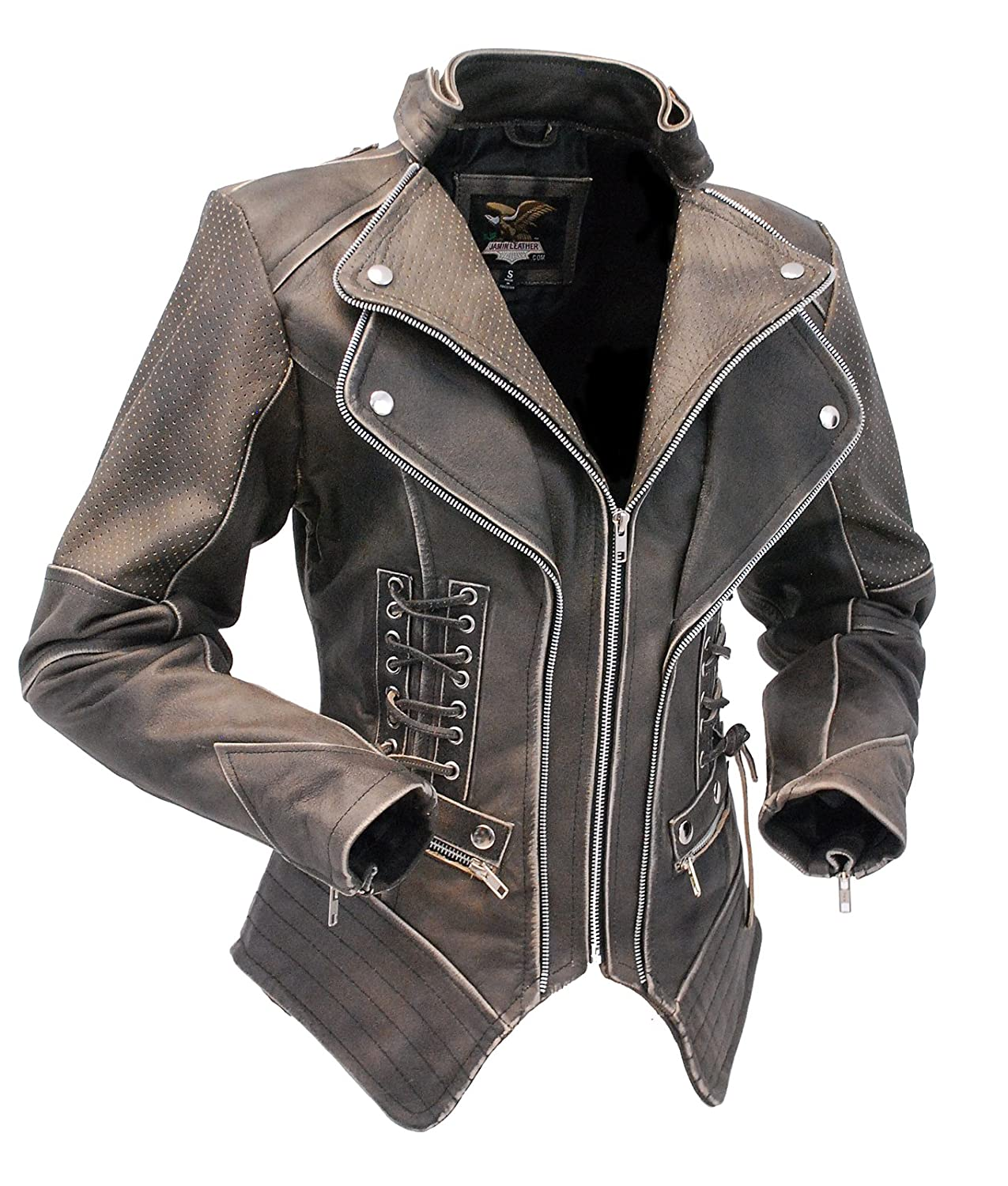 e7aa50e3 Jamin' Leather Women's Brown Vintage Steampunk Leather Jacket CCW  #LA15070XZZN