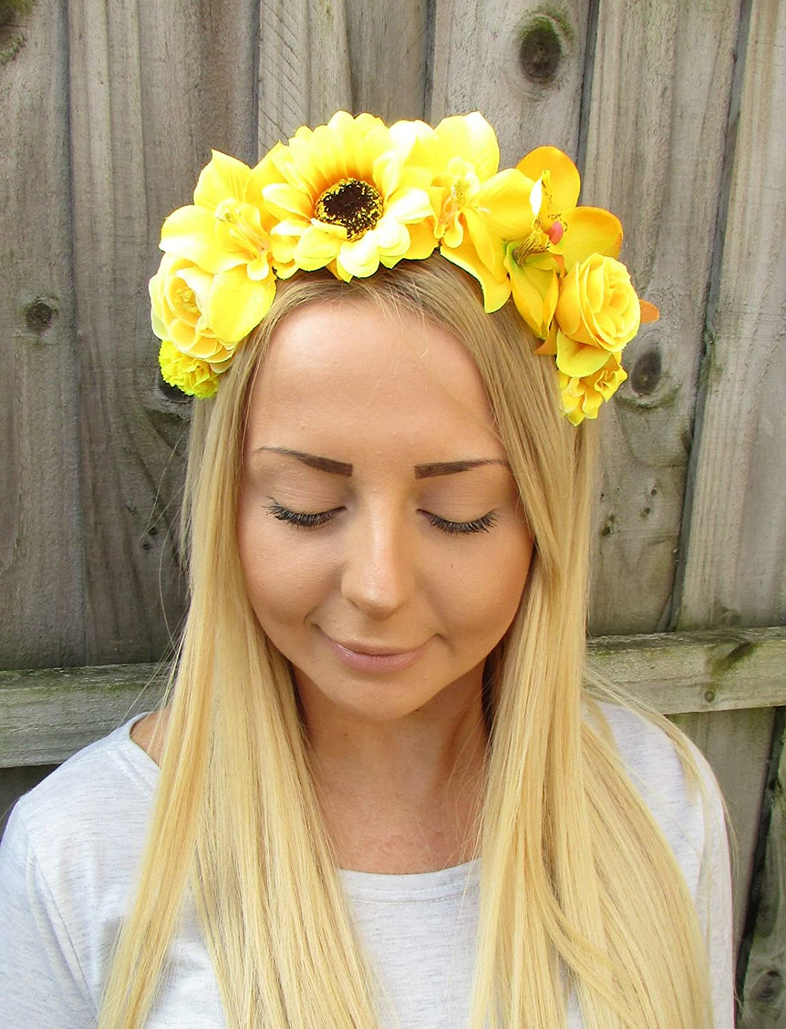 Yellow Rose Orchid Sunflower Flower Garland Headband Hair Crown Floral Boho  1920  EXCLUSIVELY SOLD BY STARCROSSED BEAUTY   Amazon.co.uk  Beauty 00b601aaeba