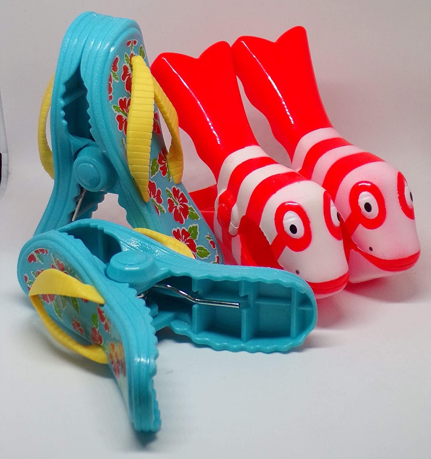 Beach Towel Clips Boca style - 2 pairs Flip flops and clown fish .