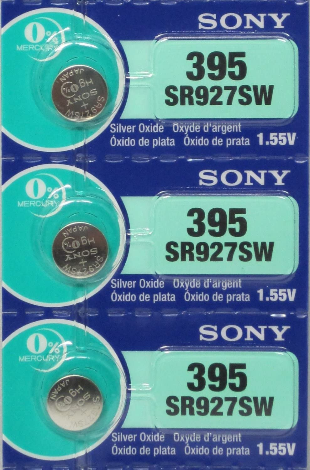 SR927SW Button Cell Zero Mercury Batteries X 3 Sony 395