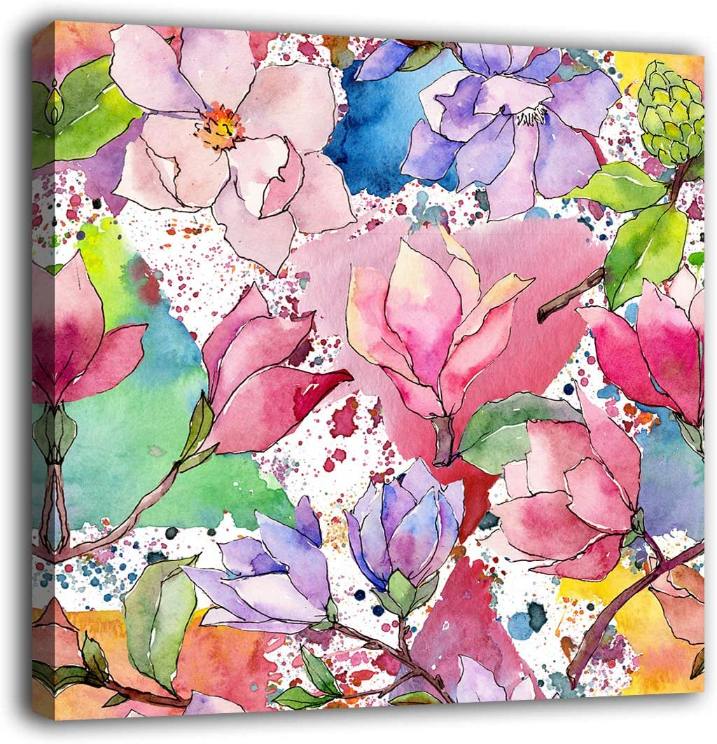 "Flowers Wall Art Bedroom Wall Decor Botanic Magnolia Canvas Pictures Modern Artwork Wildflowers Contemporary Watercolor Canvas Prints Home Office Kitchen Bathroom Living Room Laundry Decor 16"" x 16"""