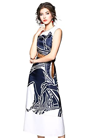 288afccad LAI MENG FIVE CATS Women s Paisley Sleeveless Midi Dress Casual A-line  Summer Long Dress