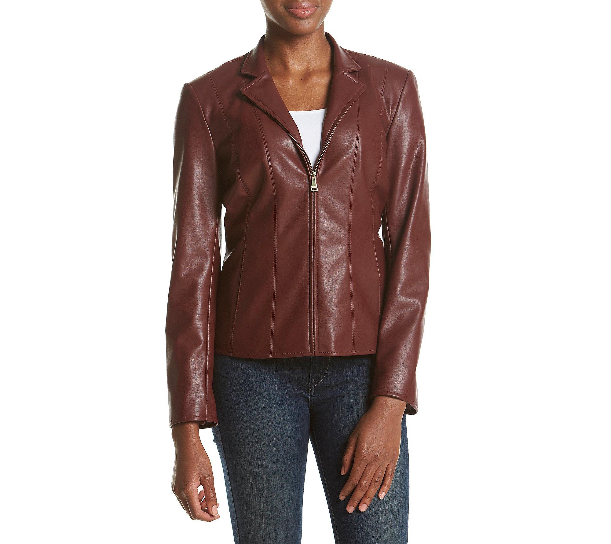 Cole Haan Wing Collar Scuba Jacket Burgundy Medium, Burgundy, Size Medium