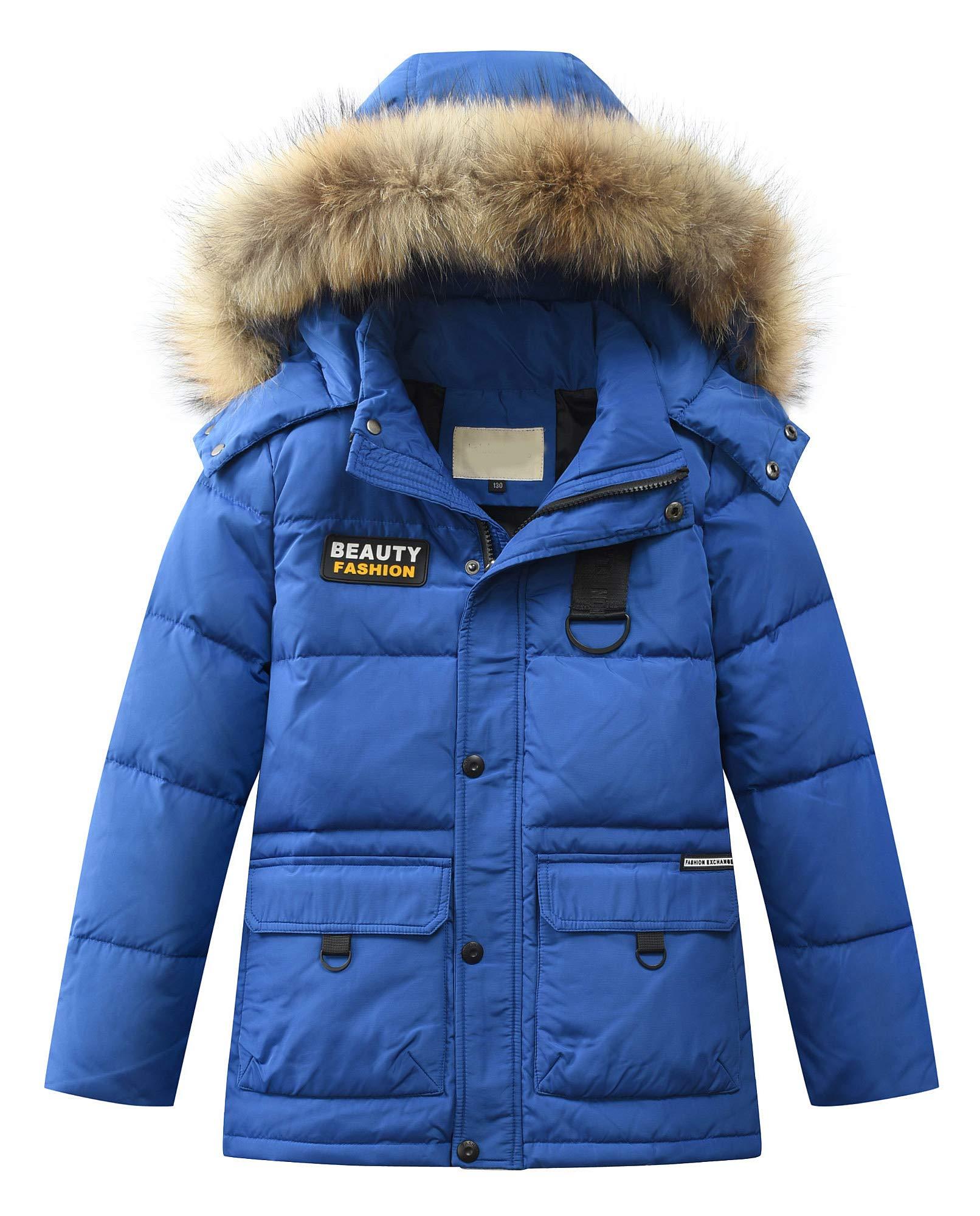 Mallimoda Big Boy's Hooded Bubble Jacket Heavyweight Solid Puffer Coat Style 4 Royal Blue 9-10 Years by Mallimoda