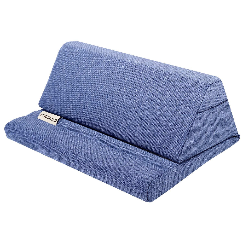 MoKo Tablet Pillow Stand, Soft Bed Pillow Holder Fits up to 11'' Pad Fit with New iPad Air 3rd Gen iPad Mini 5th Gen, iPad Pro 11 2018/10.5/9.7, Air Mini 1 2 3 4, Samsung Galaxy Tab, Denim Blue