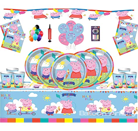20aed3f78 Gemma Peppa Pig Party Supplies Fiesta de cumpleaños Infantil para 16  Invitados Peppa Deluxe Party Vajilla