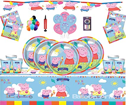 Peppa Pig Party Supplies Children S Birthday Party Kit For 16 Guests Peppa Deluxe Party Tableware With Peppa Balloons Banners