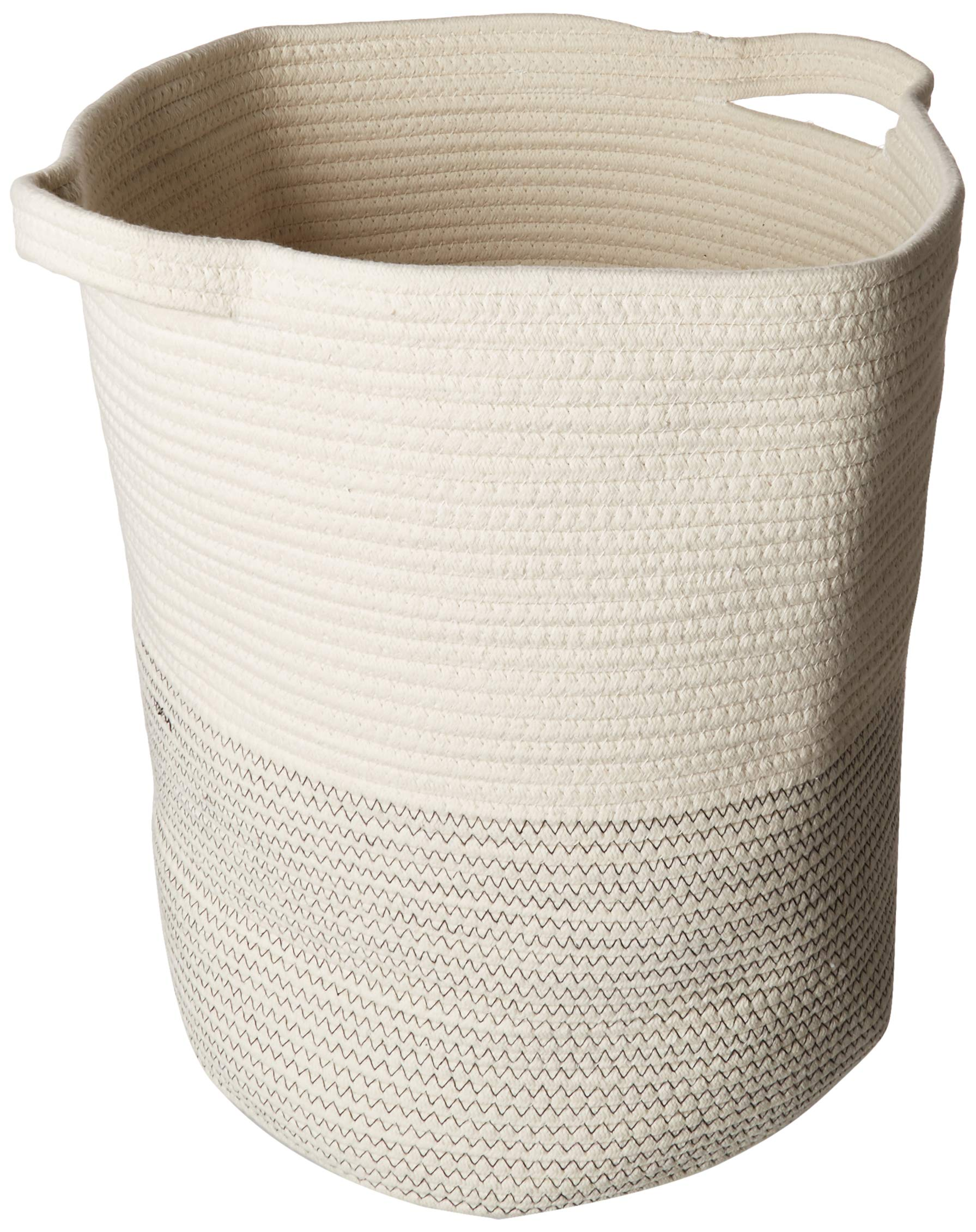 View-Line Extra Large White Woven Storage Basket - Black Stitch/Cotton Rope Organizer 16''x18''/Laundry Hamper with Handles/Decorative Basket for Living Room/for Nursery, Sofa Throws, Pillows or Toys