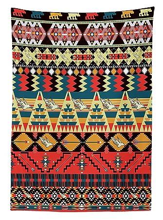 Native American Decor Tischdecke Classic Traditionelle Azteken Muster Bild  Mit Vogel Blume Pfeil Natur Ethnic Decor
