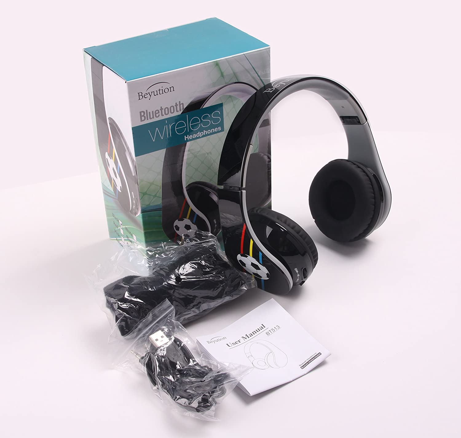 New Bluetooth 4.0 Headphones -Over-Ear- HiFi Stereo-with Clear Micphone- Retail Packages-with Football Images-Best Gift-Back to School Gift-with Retail Package (Black)