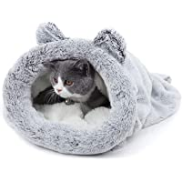 PAWZ Road Cat Sleeping Bag Fleece Soft Self Warming Washable Cat Beds Snuggle Sack Blanket Mat Kitty Sack Suitable for cat and Puppy Silver Grey 60 * 58CM