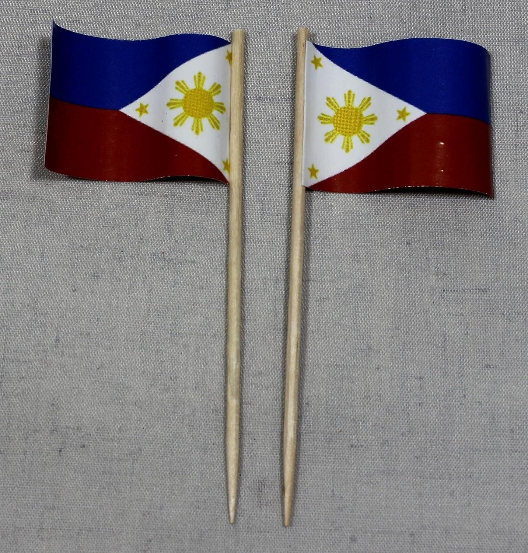 Party-palillos de la bandera de Filipinas banderitas de papel profesional 50 pcs gigante de impresión offset Sobre producción propia selección: Amazon.es: Juguetes y juegos