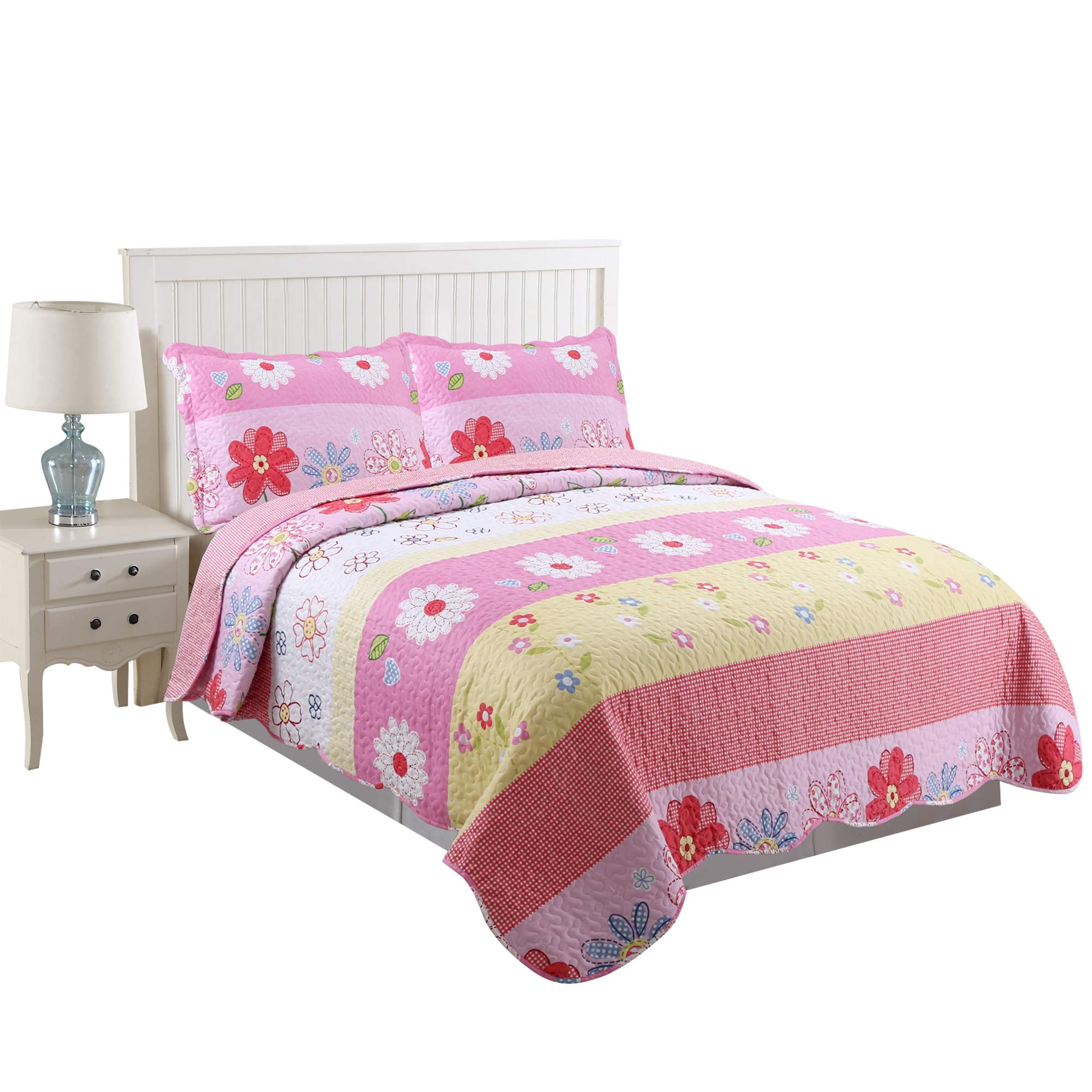 MarCielo 3 Piece Kids Bedspread Quilts Set Throw Blanket for Teens Girls Bed Printed Bedding Coverlet, Full Size, Pink Floral (Full)