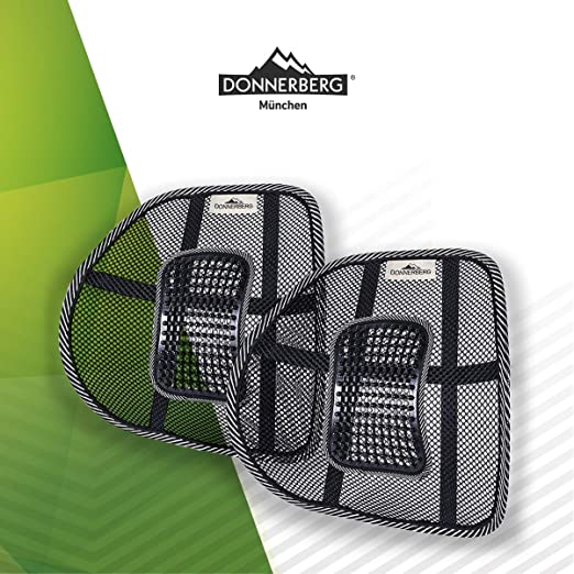 Donnerberg Respaldo Lumbar ergonómico - Almohada Lumbar para sillas de Oficina Asientos de Coche - Almohada Lumbar - Calidad Alemana(Juego de 2)