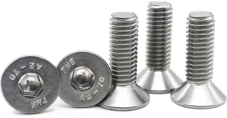 Fullerkreg 18-8 Stainless Steel Hex Drive Flat Head Screw M10 x 1.5 mm Thread Size 25 mm Long,Packs of 10