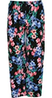 Click Selfie New Womens Plus Size Soft Thermal Autumn Floral Print Palazzo Trousers