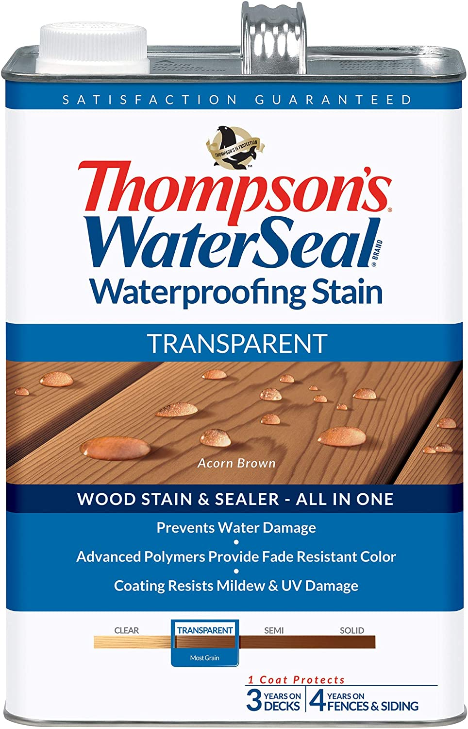 THOMPSONS WATERSEAL TH.041841-16 Transparent Waterproofing Stain, Acorn Brown