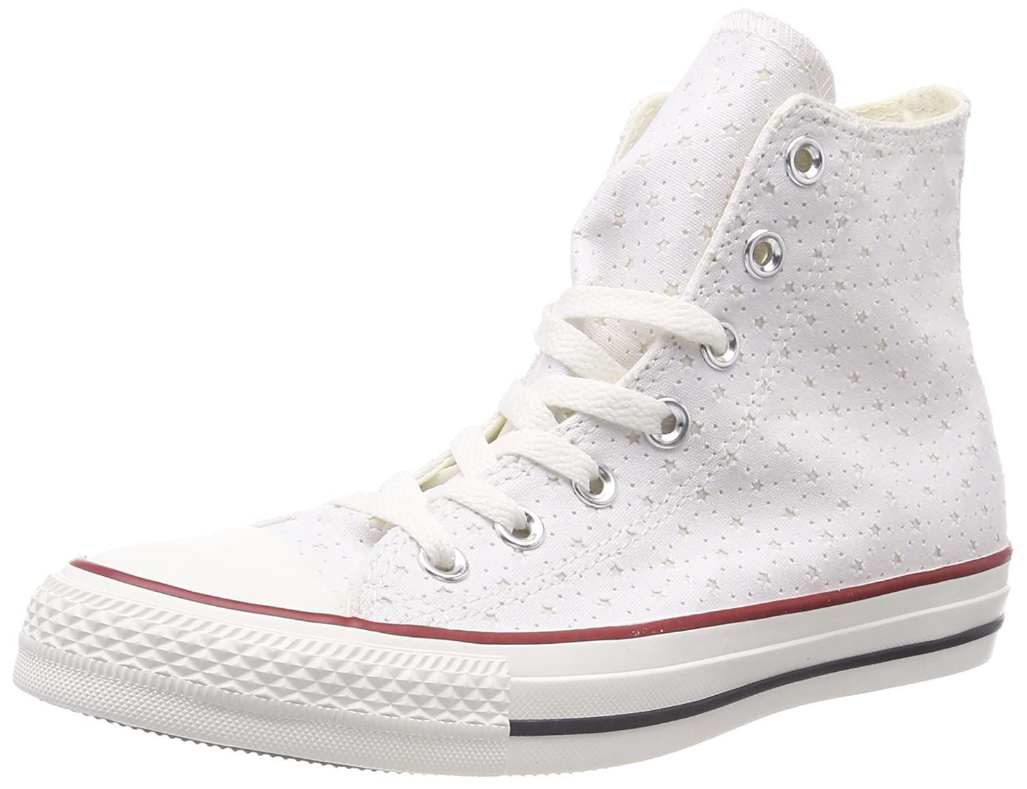 TALLA 35 EU. Converse CTAS Hi White/Garnet/Athletic Navy, Zapatillas Altas Unisex Adulto