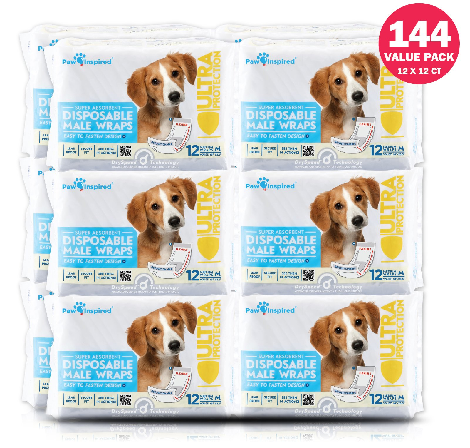 Paw Inspired Ultra Protection Disposable Male Wraps, Medium