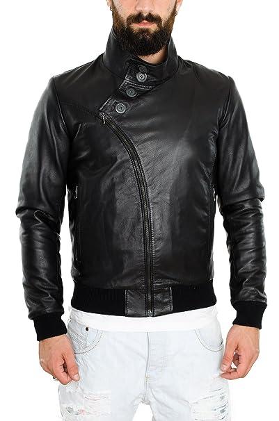 Pellein - Chaqueta de cuero para hombre, modelo Milano. negro 44