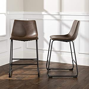 """WE Furniture AZHL26BR Dining Chairs, 24 3/8"""", Brown"""