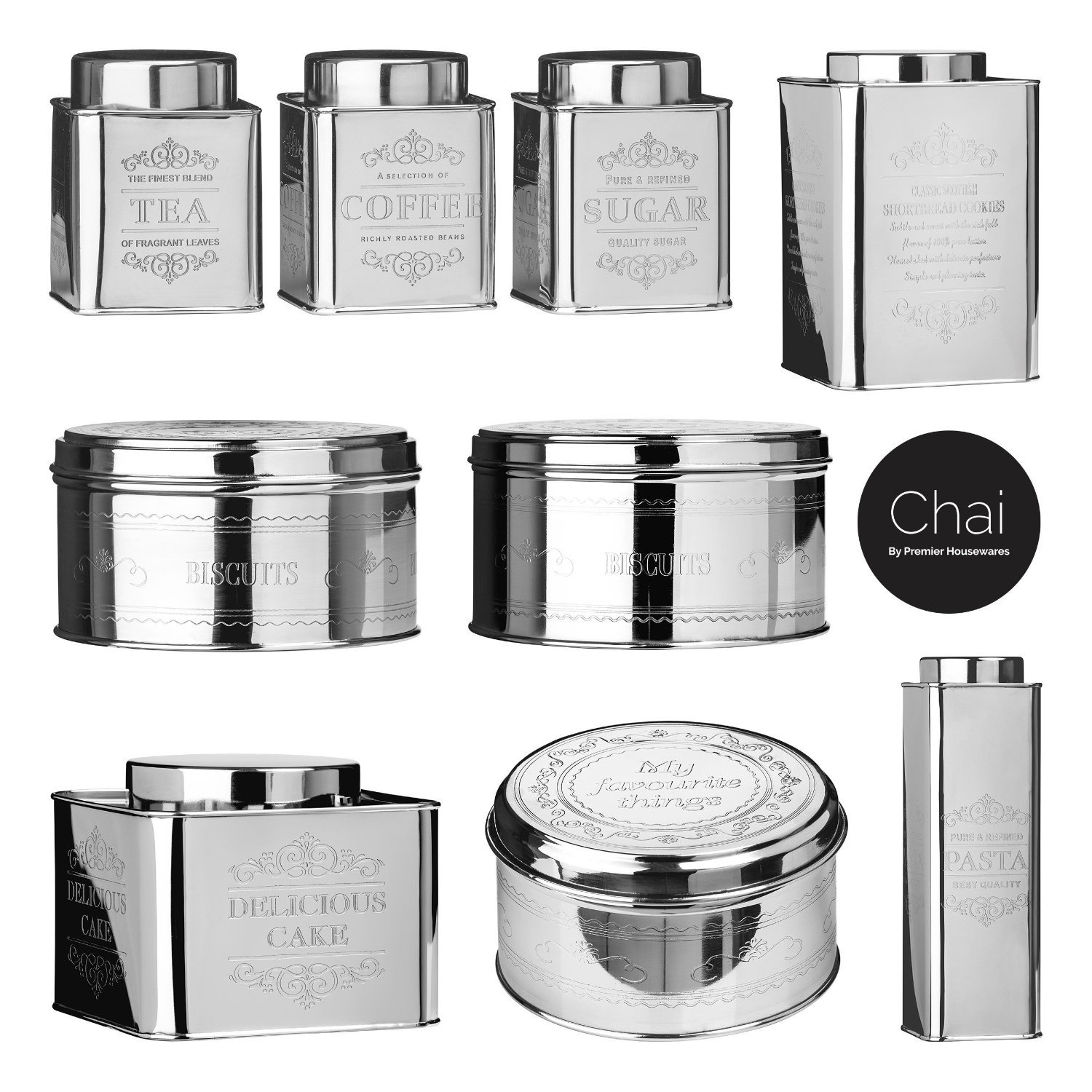 Premier Housewares New Stainless Steel Chai Pasta Canister ultimatesalestore