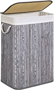 SONGMICS Laundry Hamper, Bamboo Laundry Basket with Removable Cotton Liner, Lid, 19 Gal (72L), for Laundry Room, Bedroom, Distressed Gray ULCB11GW
