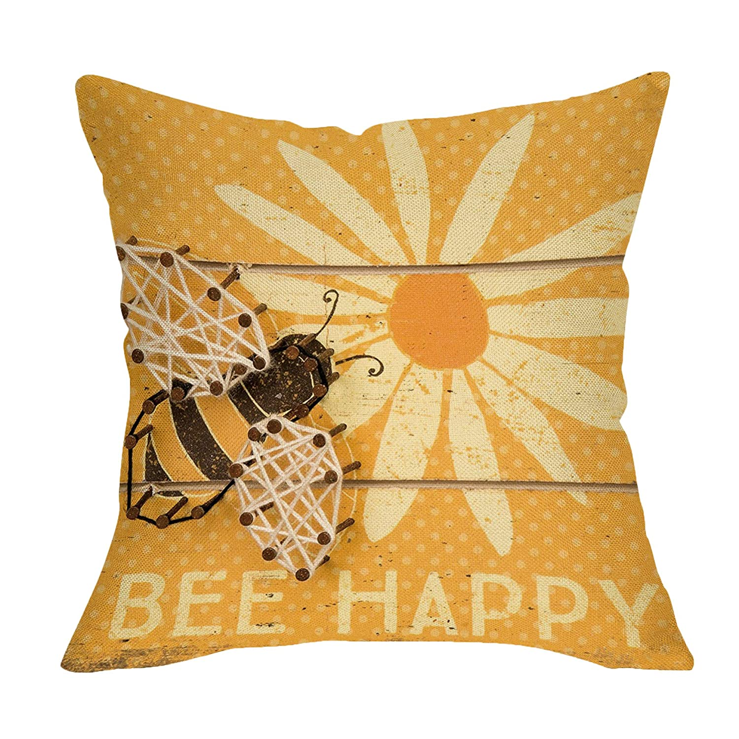 "Softxpp Rustic Bee Happy Sunflower Pillow Cover Farmhouse Décor Spring Summer Sign Cushion Case Decorative for Sofa Couch 18"" x 18"" Inch Cotton Linen"
