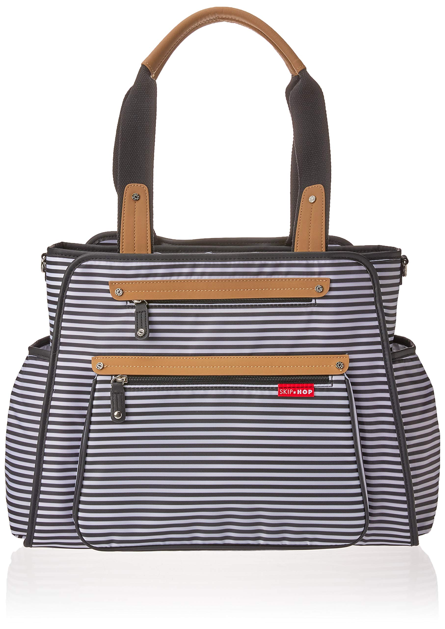 Skip Hop Diaper Bag Tote with Matching Changing Pad, Grand Central, Black & White Stripe by Skip Hop (Image #1)