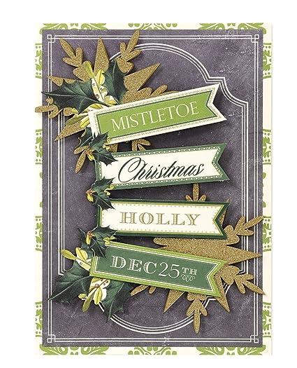 Anna Griffin Christmas Cards.Amazon Com Handmade Dimensional Glitter Mistletoe And Holly